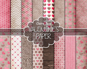 "Valentine's day digital paper: ""VALENTINE'S PAPER"" rustic valentine backgrounds / hearts on kraft, linen, wood/ valentine's hearts patterns"