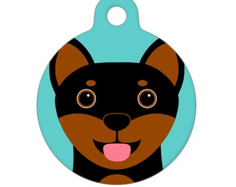 Pet ID Tag - Shiba Inu - Black and Brown Pet Tag, Dog Tag