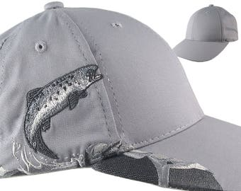 Custom Personalized Salmon Large Embroidery on an Adjustable Full Fit Grey Baseball Cap Front Decor Selection with Options for Side and Back