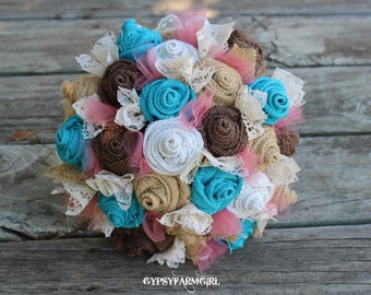 Turquoise and Coral Burlap Tulle and Lace Bridal Wedding Bouquets