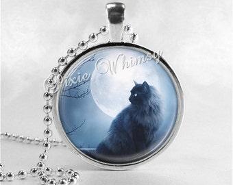 BLACK CAT Pendant Necklace, Cat Jewelry, Moon Jewelry, Glass Photo Art Pendant Necklace