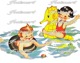 Vintage Digital Download Boy and Girl Swimming Vintage Image Collage Large JPG and PNG