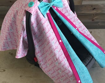 Baby girl car seat canopy, girl carseat canopy cover, baby shower gift, sweet baby girl