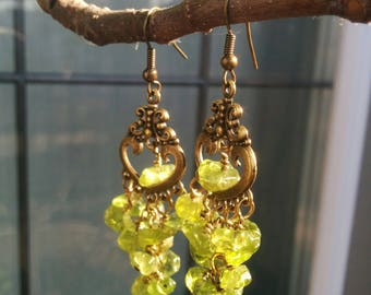 Antique Brass Earrings With Green Peridot