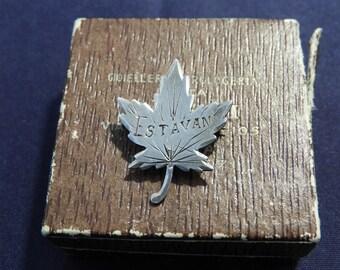 """Vintage sterling silver Maple leaf brooch - 'Estevan' - 925 - sterling silver - 1.2"""" x 0.8"""" - l"""