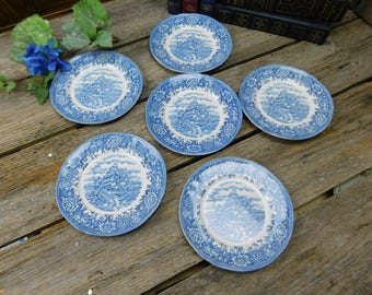 Set of 6 Salem China Co. Blue and White Bread and Butter Plates - English Village
