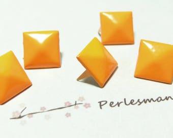 set of 10 12mm orange N 225 pyramid square rivet studs