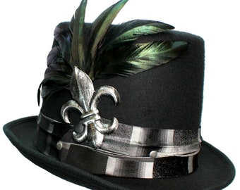 Black Wool Top Hat Silver Fleur De Lis Steampunk Traveler Mens Mardi Gras Dapper