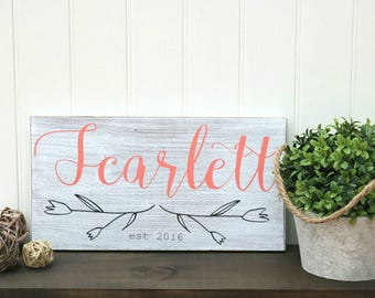 Wood baby name sign, Baby room wall art, Personalized nursery decor, Girls room decor, Painted wood sign