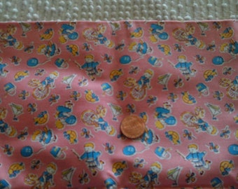 SALE 50% Childrens Quilt Fabric 1940s Children at Play Blue Yellow  on Pink