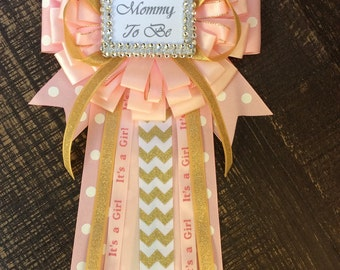 Little Princess Baby Shower Mommy To Be Pin   Little Princess Corsage  Pink  And Gold