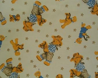Cowboy Teddy Bear Fabric By the Yard Cotton 36 Inches Long