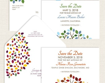Bat Mitzvah Save the Date, Tree of Life, Leaves, Branches, Blue, Green, Red, Orange, Gold, Yellow, Bar Mitzvah Save the Date Postcard