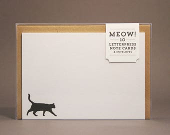 Meow! Cat Silhouette Letterpress Note Cards