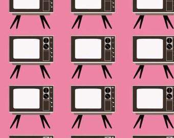 Pink Retro TV  Fabric YARD