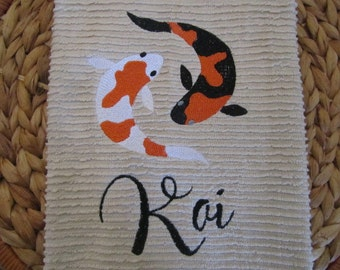 Koi Fish with Text - Whim - Wave (Oatmeal) - Cotton 20x30 Designer Kitchen Hand Towel