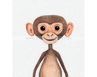 Water Colour Baby Monkey Limited Edition Print