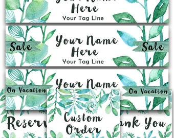 Etsy shop banner set green Foliage new size cover photo modern watercolor forest plants simple graphics