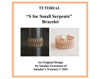 Beading Tutorial, S for Small Serpents Cuff Bracelet. Beading Pattern. Beadweaving Instructions with Seed Beads, Beadwork, Bracelet Pattern