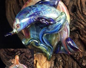 Bold Wave Glider Borosilicate Lampwork boro dolphin pendant SRA artist design ooak