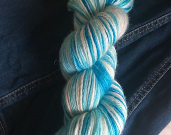 Blue and white alpaca wool and silk 4 ply hand dyed