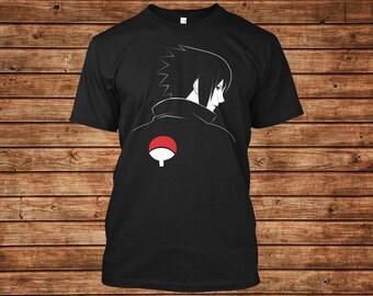 Naruto Shirt with Uchiha Sasuke Design in a Black Unisex T-shirt Gift for Otaku Anime Lovers