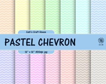 Pastel Chevron Digital Papers - Pastel Backgrounds with Chevron Pattern - Soft colors - Commercial Use - Instant Download