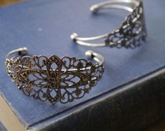 Adjustable Antique Silver Filigree Cameo Cabochon Setting Bangle Bracelet 16.5cm (SFC3399)