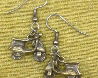 Vespa Scooter  Brass Dangly Earrings