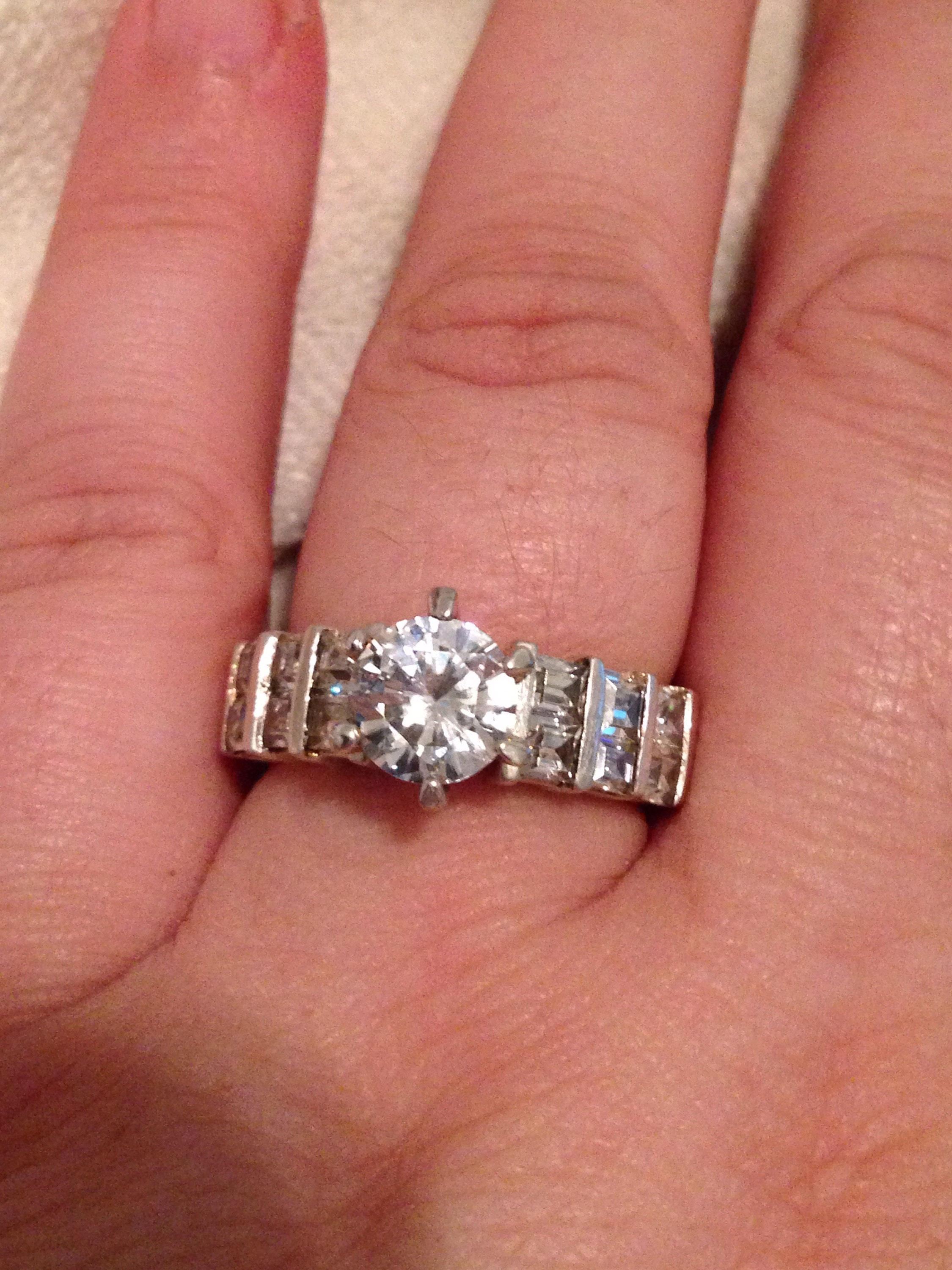 Sterling Silver Round/Baguette CZ Engagement