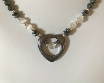 Handmade Hematite Open Heart Necklace with Opaque White Accent