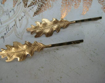 Oak Leaf Hair Pins, Nature, Hair Accessories, Chic, Shabby, Wedding, Gift for Her, Teens, Toddlers, Gold tone, Leaves, Leaf Bobby Pins/G145
