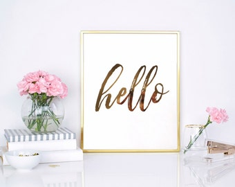 HELLO | Foil Print | Wall Art | Home Decor | Hello Sign | Gift For Her | Real Foil