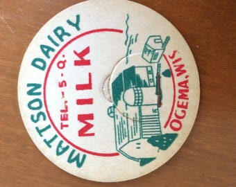 Milk bottle cap, vintage, unused