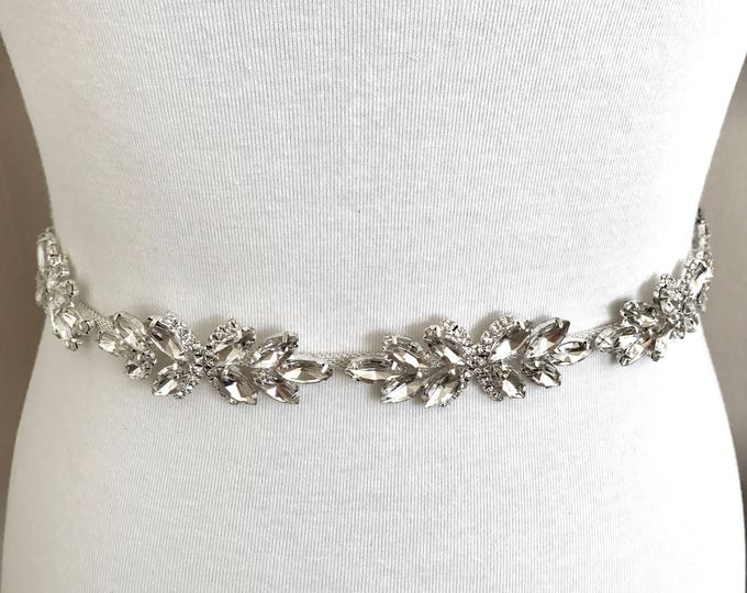 Crystal Bridal Belt, Bridal Sash, Wedding Belt, Wedding Sash Rhinestone and Pearl Sash, B07