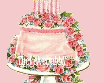 Birthday cake B*O DARLING*Digital download instant*Sewing.ornaments,tags,cards