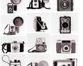 Vintage Camera Collection Retro Photo Set Modern Decor Minimalist Geekery Black and White, Set of (12) Fine Art Photography Prints