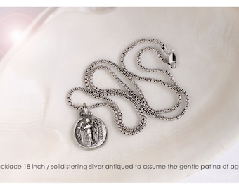 Sterling Silver Byzantine Angel Coin Necklace & Earrings Matching Set, Silver Byzantine Angel Coin Earrings, Byzantine Angel Coin Necklace