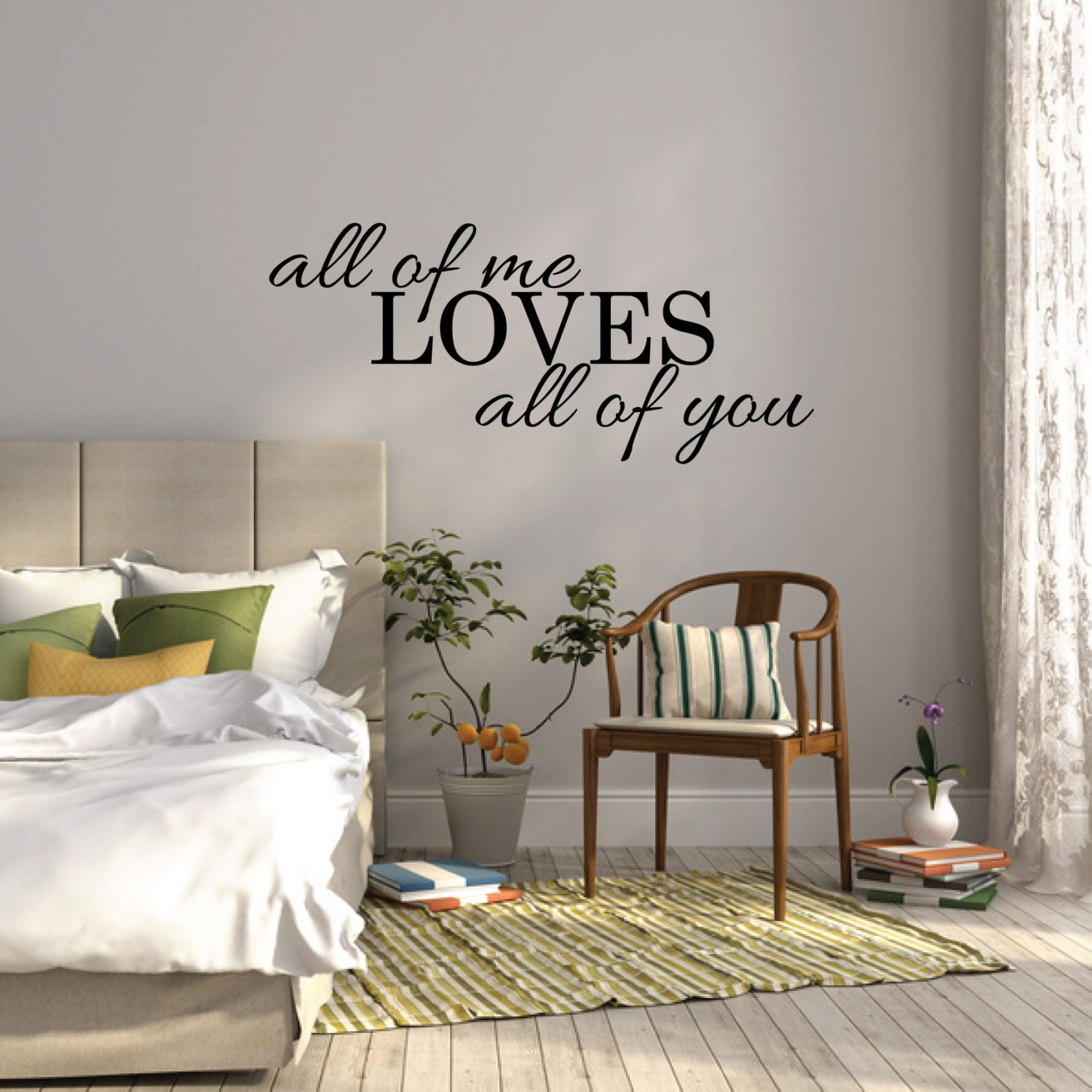 Love Quote Wall Decals All Of Me Loves All Of You Wall Sticker Bedroom Wall Decal