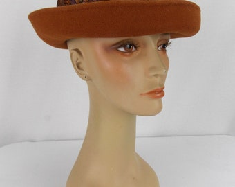 Whittle & Shon Brown Bowler Feathers and Suede