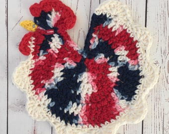 Chicken table decor,red,white,blue,table protector,trivet,pot holder,4th of Juky,Memorial Day,Veteran's Day,patriotic,hostess gift