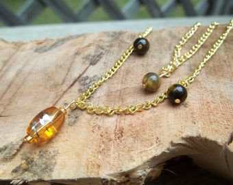 Tigereye and Amber Glass Two-Tiered Layered Necklace - Simple and Romantic Gold Stacked Necklace - Traditional Sleek Modern Minimalist