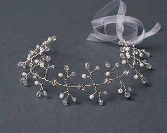 Crystal wedding long hair beaded bridal hair vine headpiece with rhinestones and faceted glass beads