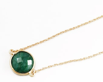 Green Emerald Necklace 14k Gold Bezel Genuine Emerald Necklace Real Emerald Adjustable May Birthstone Precious Emerald BZ-N-152.2-Em/g