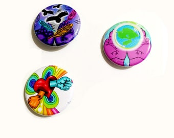 Popart pin back buttons cute bright colorful rainbow hands love earth nature