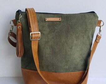Green Vegan Suede Crossbody Purse/Vegan Leather Messenger Bag/Everyday Bag/Women Messenger Purse/Zippered Crossbody Purse/Gift For Her