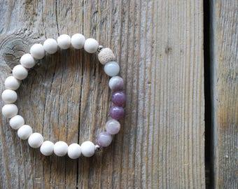 Essential oil diffuser bracelet lilac jasper yoga bracelet mala beads jasper bracelet meditation beads yoga beads lava beads jasper bracelet