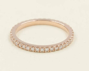 1.8mm Full Eternity Band.Rose Gold Diamond Band.Diamond Wedding Band. 14k Wedding Ring.Micro Pave Eternity Ring.Matching Band.Promise Ring.