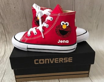New Glitter Elmo inspired Shoes - personalized chuck taylors - customized converse  - Birthday party outfit - birthday gift