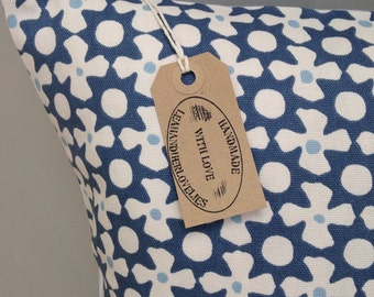 "Geometric mosaic Greek blue white 16"" cushion cover"
